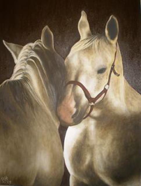 Betina Haak  'Horses In Love', created in 2009, Original Painting Oil.