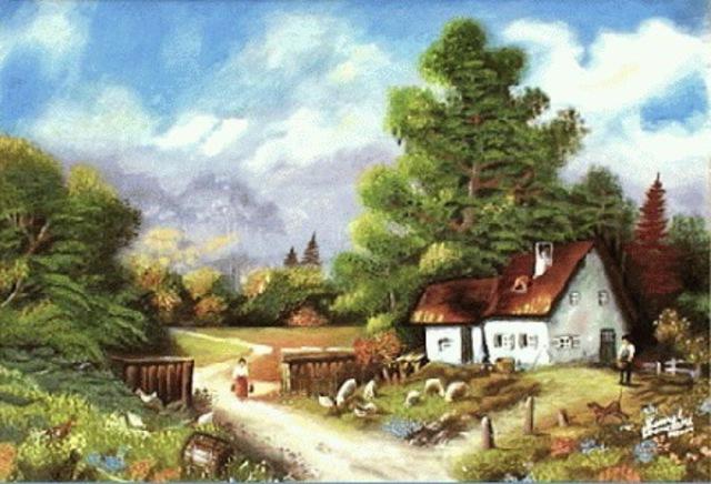Kamal Bhandari Artwork My Village Original Watercolor