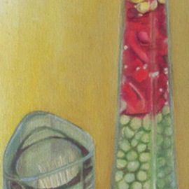Kamal Bhandari: 'Pickle Bottle', 2007 Oil Painting, Still Life. Artist Description:  Chinese pickle- bottle and tooth- pick box which sit proudly at the centre my dining table.  ...