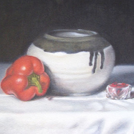 Kamal Bhandari: 'Red Pepper', 2009 Oil Painting, Still Life. Artist Description:  Ceramic bowl and red pepper. Still- Life. ...