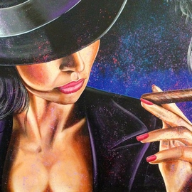 Bill Lopa Artwork Cigar Lady, 2015 Acrylic Painting, Inspirational