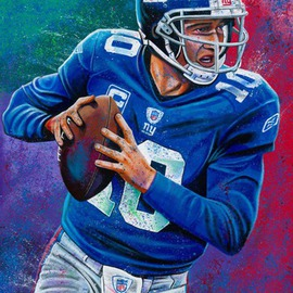 Bill Lopa Artwork Eli Manning, 2016 Acrylic Painting, Famous People