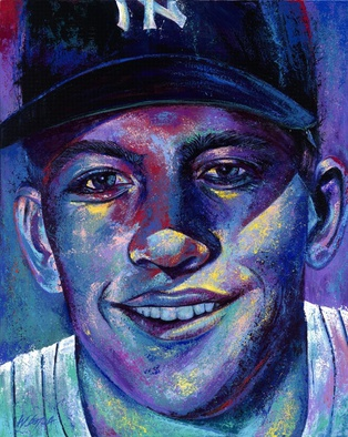Bill Lopa Artwork Mickey Mantle, 2016 Acrylic Painting, Famous People