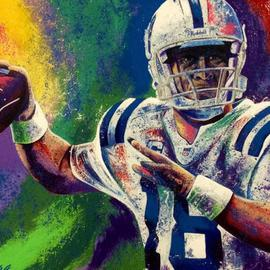 Bill Lopa Artwork Payton Manning, 2016 Acrylic Painting, Famous People