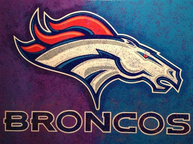 Bill Lopa  'Broncos Team Logo', created in 2017, Original Painting Acrylic.