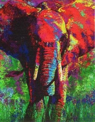 Bill Lopa Artwork elephant, 2017 Acrylic Painting, Wildlife