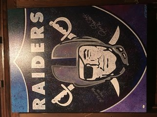 Bill Lopa: 'raiders team logo autographed', 2017 Giclee, Sports. Artist Description: Raiders team Logo ...
