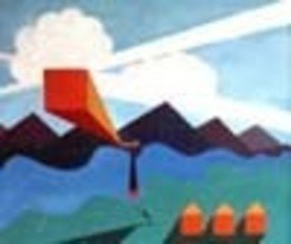 Artist: Bill Myers - Title: UFO  - Medium: Acrylic Painting - Year: 1973