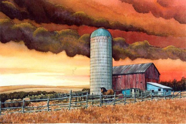 Bill Pullen  'Cobourg Farm', created in 2002, Original Painting Acrylic.