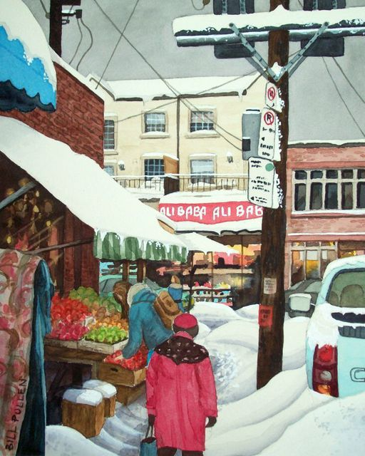 Bill Pullen  'Snowy Day In Kensington Market', created in 2010, Original Painting Acrylic.