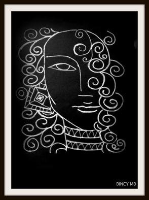 Bincy Mb: 'Budha Art Indian Painting', 2016 Paper, Abstract. Artist Description:  Budh art drawing in Black and White, paper. ...