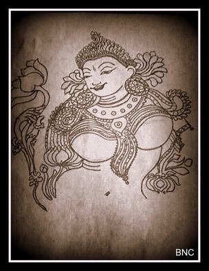 Bincy Mb: 'Indian Goddess', 2016 Paper, Hindu.  Indian Goddess Mural Art drawing ...