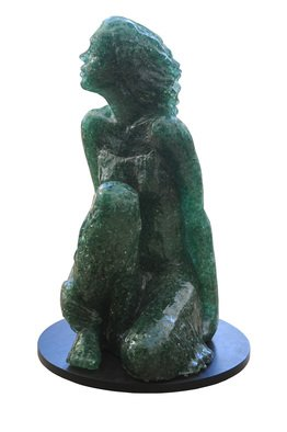 Tzipi Biran: 'Curious woman', 2014 Glass Sculpture, Figurative. Artist Description:  A woman made of broken glass and resin.Differents transperity and colores, depend on the glass. ...