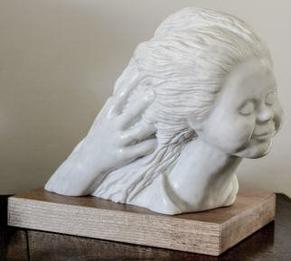 Tzipi Biran: 'mother s hands', 2017 Marble Sculpture, Portrait. Carrara marble, girl, face. hand, hair, figurative, young woman...