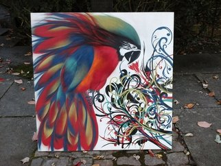 Acrylic Painting by Bizzy Panchal titled: flaming Parrot, 2014