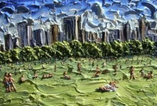 Landscape Acrylic Painting by Brian Josselyn Title: central park sunshime, created in 2007