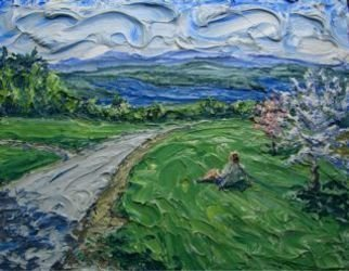 Landscape Acrylic Painting by Brian Josselyn Title: spring view, created in 2007