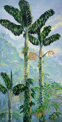 Blanca Moreno: 'palma de tagua', 2019 Oil Painting, Botanical. The tagua palm tree endemic species of thelost city a high montain peak near the caribean in the north part of south America. ...