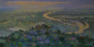 Blanca Moreno: 'putumayo river', 2016 Oil Painting, Botanical. The Putumayo River seen from above...