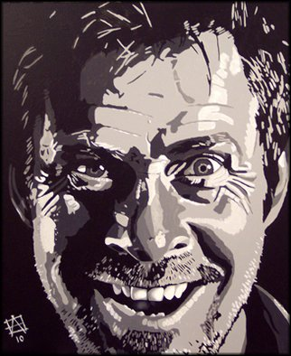 Artist: Andrew Ward - Title: Mad Joey Barber - Medium: Acrylic Painting - Year: 2011