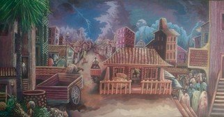Tobi Bolaji: 'african city', 2016 Oil Painting, Cityscape. Artist Description: Houses, stormy sky, hustlers. ...
