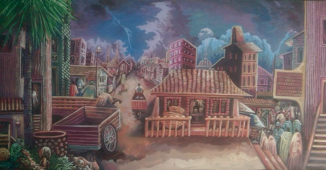 Tobi Bolaji: african city, 2016 Oil Painting