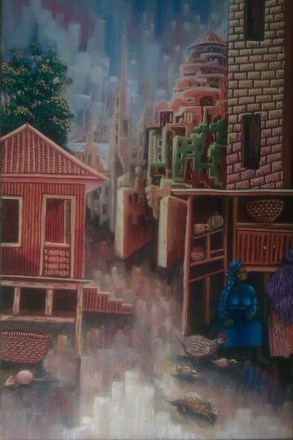 Tobi Bolaji: calm after rain, 2016 Oil Painting