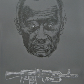 Bodo Gsedl Artwork Putin and his personalized favourite gun, 2007 Pencil Drawing, Political