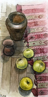 Julia Bolshakova Artwork Apples, 2014 Ink Drawing, Food