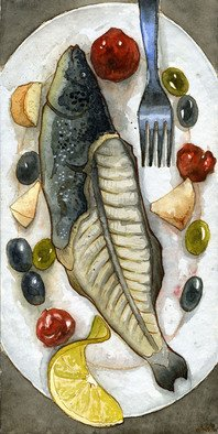 Julia Bolshakova Artwork Fish, 2014 Ink Drawing, Food