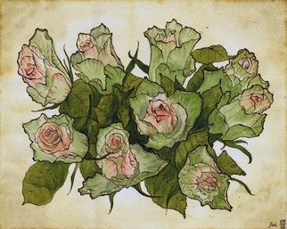 Julia Bolshakova Artwork Roses, 2015 Ink Drawing, Floral