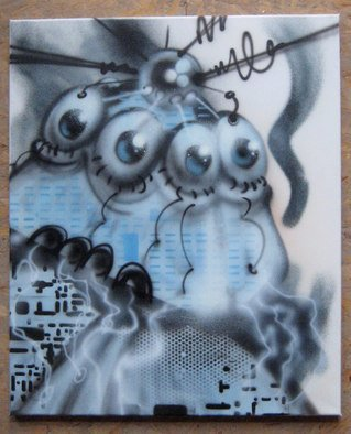 Helge W. Steinmann A.k.a. Bomber: 'Manic Robot 2', 2008 Other Painting, Psychedelic.  Graffiti Art, Urban Art, Aerosol Art, Spraycan on canvas                 ...