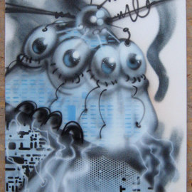 Helge W. Steinmann A.k.a. Bomber: 'Manic Robot 2', 2008 Other Painting, Psychedelic. Artist Description:  Graffiti Art, Urban Art, Aerosol Art, Spraycan on canvas                 ...