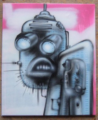 Helge W. Steinmann A.k.a. Bomber: 'Manic Robot 4', 2008 Other Painting, Psychedelic.  Graffiti Art, Urban Art, Aerosol Art, Spraycan on canvas                  ...