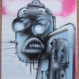 Helge W. Steinmann A.k.a. Bomber: 'Manic Robot 4', 2008 Other Painting, Psychedelic. Artist Description:  Graffiti Art, Urban Art, Aerosol Art, Spraycan on canvas                  ...