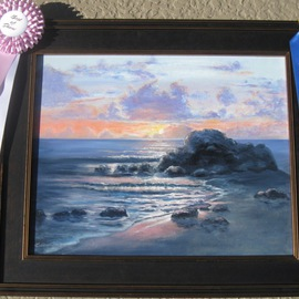 Lou Armentrout: 'Big Sur, California Sunset', 2012 Oil Painting, Seascape. Artist Description:  Dramatic California Sunset, bright vivid color.  ...