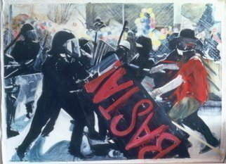 Bonie Bolen: 'Basta', 2003 Oil Painting, Political.  Painting is about World Trade protests of 1999 in Seattle. Original image by Associated Press. ...