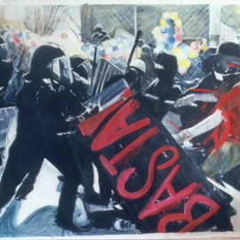 Bonie Bolen: 'Basta', 2003 Oil Painting, Political. Artist Description:  Painting is about World Trade protests of 1999 in Seattle. Original image by Associated Press. ...