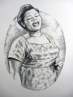 Bonie Bolen: 'Big Mama Thorton', 2013 Pen Drawing, Music.  Another original pen and ink drawing commissioned by the Blues, Jazz and Folk Music Society in Marietta, OH. The design is for their upcoming 2014 Blues Fest t- shirt design. Original not for sale but prints are available. ...