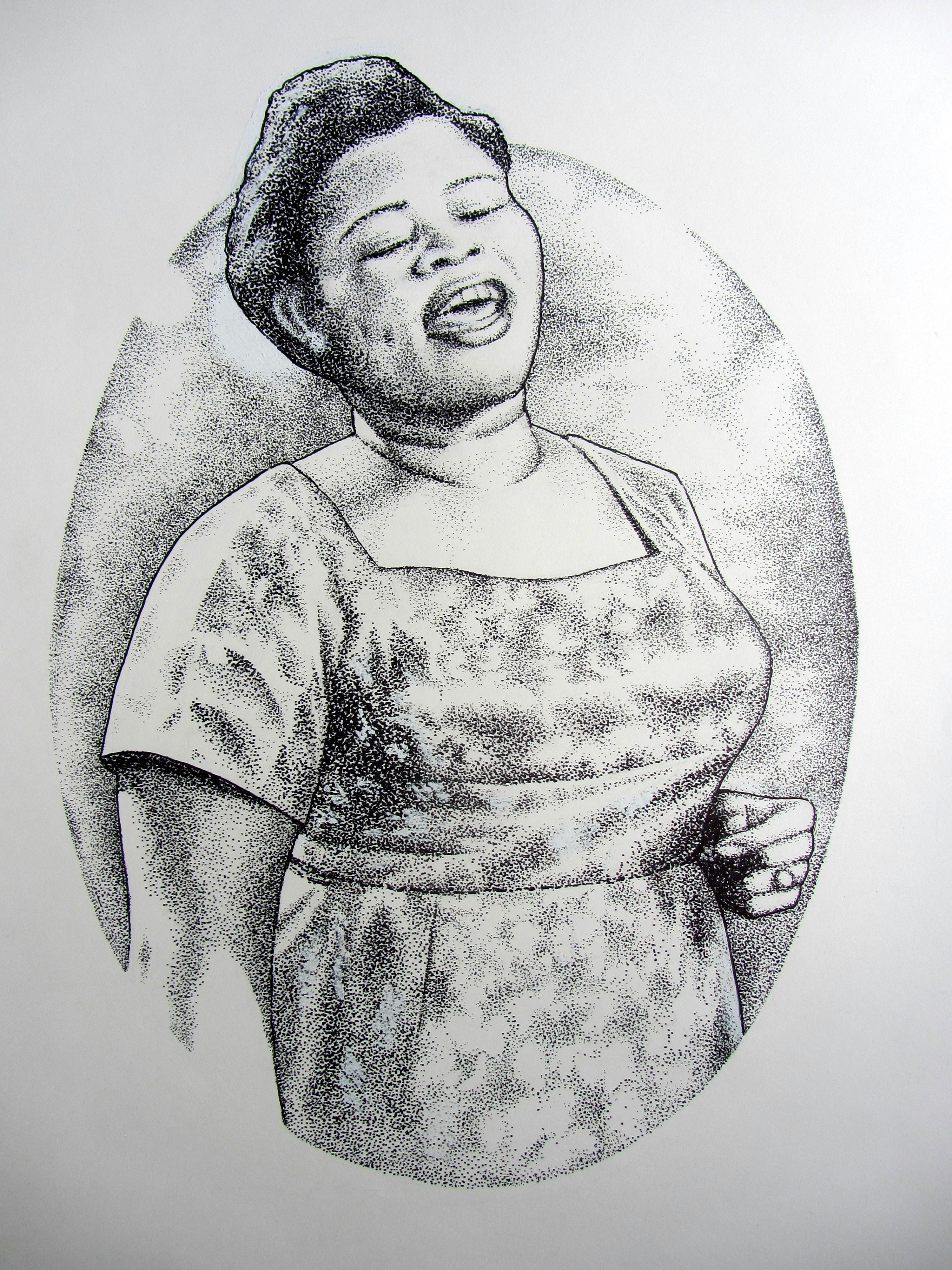 Bonie Bolen Artwork Big Mama Thorton Original Drawing