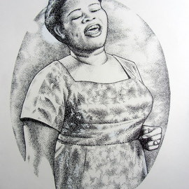 Bonie Bolen Artwork Big Mama Thorton, 2013 Pen Drawing, Music