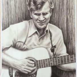 Bonie Bolen Artwork Doc Watson, small print, 2016 Pencil Drawing, Music
