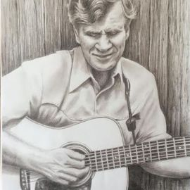 Bonie Bolen Artwork Doc Watson, 2016 Pencil Drawing, Music