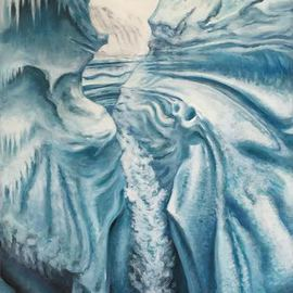 Bonie Bolen: 'Greenland', 2016 Oil Painting, Nature. Artist Description:  Oil on aluminum. Original image used from National Geographic 2010 article about Greenland's changing face due to global warming. ...