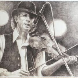 Bonie Bolen Artwork John Hartford, large print, 2016 Pencil Drawing, Music