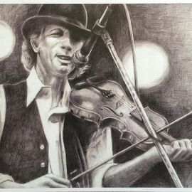 Bonie Bolen Artwork John Hartford, small print, 2016 Pencil Drawing, Music
