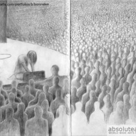 Bonie Bolen Artwork Johnny Greenwood playing at Blossom , 2003 Pencil Drawing, Music
