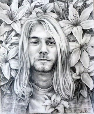 Bonie Bolen Artwork Kurt Cobain, 2016 Pencil Drawing, Music