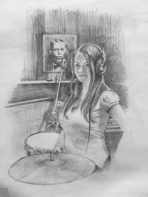 Bonie Bolen Artwork Meg as Mona Lisa, 2004 Pencil Drawing, Music