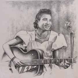 Bonie Bolen Artwork Memphis Minnie, 2004 Pen Drawing, Music